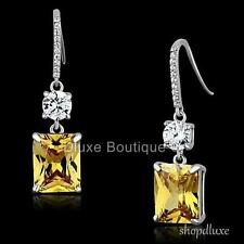 WOMEN'S RADIANT CUT CANARY YELLOW CZ 925 STERLING SILVER DANGLE FASHION EARRINGS