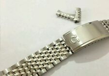 NEW OMEGA SOLID STAINLESS STEEL WATCH GENTS STRAP,CURVED ENDS,18MM, RICE BEADS