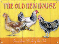 LARGE - THE OLD HEN HOUSE - POULTRY CHICKEN EGGS TIN SIGN METAL WALL PLAQUE 45
