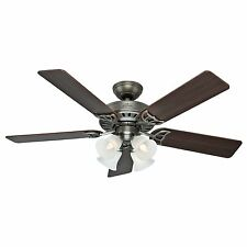 "Hunter 52"" Antique Pewter Ceiling Fan - Four-Light Fitter w/ Clear Frosted Glass"