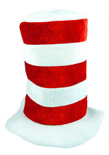RED & WHITE STRIPED TALL TOP HAT ADULT DR SEUSS FANCY DRESS BOOK WEEK MAD HATTER