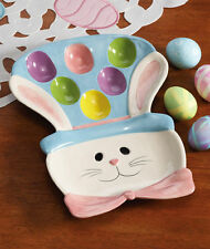 Easter Bunny Rabbit Plate Centerpiece Colored Egg Serving Platter Table Decor