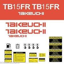 TB15FR Decals Takeuchi TB15FR Decal Kit Mini Excavator Sticker