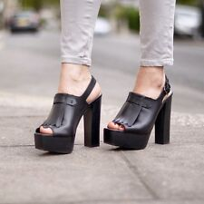 Zara Black Leather Platform Heels With Fringe Size Uk6/39 BNWT