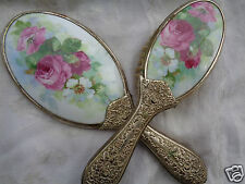 ANTIQUE VICTORIAN PORCELAIN FLORAL ROSE EMBOSS HANDLE HAND MIRROR BRUSH SET