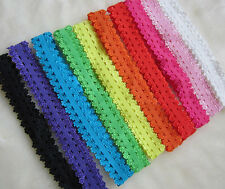 lot 100pcs Baby Girl Stretch Frilly Elastic Lace Headband For Hair Clips flower