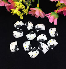 12pcs Cute Resin HELLO KITTY Black Bow flatback Scrapbooking For DIY phone/craft