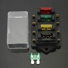 FUSE HOLDER BOX BLOCK 4 WAY CAR VEHICLE CIRCUIT AUTOMOTIVE + 4 BLADE FUSE 12/24V
