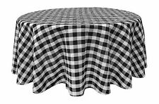 Black White Tablecloths: Gingham Checkered Design 70 Round