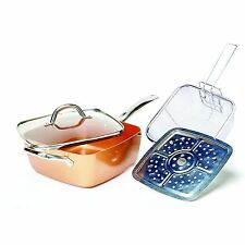 Copper Square Pan Induction Chef w/Glass Lid Fry Basket, Steam Rack 4 Piece Set