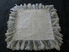 ANTIQUE FILET LACE WITH FRENCH NET LACE BOUDOIR PILLOWCASE
