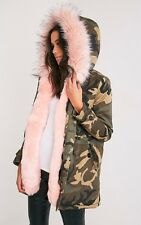 FAUX FUR CAMO PARKA IN BABY PINK FITS XS S M UK 6 8 10 SOLD OUT RRP £120