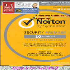 Norton Premium (10 devices) 2017+Utilities (3 PCs)+Tune-Up 1 yr Sealed✔FastShip