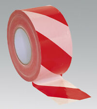Sealey BTRW Hazard Warning Barrier Tape 80mm x 100mtr Red/White Non-Adhesive