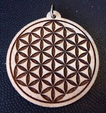 "Flower Of Life Laser carved Maple wood pendant 1.75"" Necklace USA #Spiritualist"