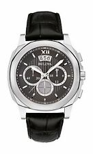 Bulova Men's 96B218 Chronograph Quartz Stainless Steel Black Leather Watch