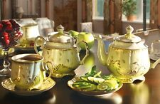 Russian Verbilki Porcelain Tea set Emerald 6 persons 15 pcs