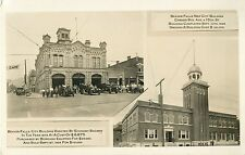 Fire Dept, Men & Equipment Outside City Bldg, Beaver Falls PA RPPC 1928