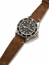 20mm Vintage Italian Suede Honey Brown Tan Leather Watch Strap & Rolex Buckle