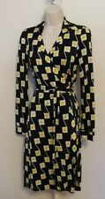 Diane Von Furstenberg New Jeanne Traffic Rose Lemon black wrap dress 4 yellow