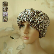 Newly Woman Elastic Satin Shower Cap Waterproof Bath Hats Reusable Leopard Hat