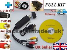 KIT COMPLETO USB VHS Cintas a Win PC/DVD Video/Conversor De Audio Captura