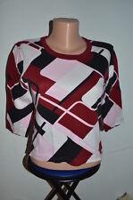 3/4 arm-Shirt,STREET ONE, Gr.38, rot,weiß,schwarz,rosa gemustert,Rundhals, Basic
