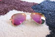 Ray Ban Aviator Sunglasses RB3025 -Gold Frame (Pink) Flash lenses 58mm 100%UV
