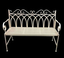 117CM IRON METAL WHITE BENCH WITH BACKREST, GARDEN CHAIR,OUTDOOR FURNITURE