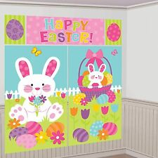 HAPPY EASTER SCENE SETTER PARTY WALL DECORATION BUNNY EGGS RABBIT PHOTO PROP