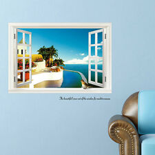 Home DIY 3D Ocean View Window Wall Stickers Room Decal Decor Mural Wallpaper
