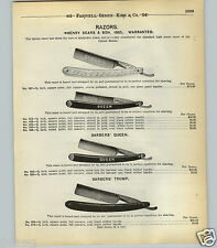 1904 PAPER AD 2 Sided Henry Sears & Son Straight Razor 1865 Barber Queen Trump
