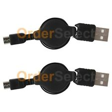 2 USB Black Retractable Micro Battery Charger Data Cable For Android Cell Phone