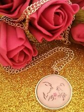 Beauty And The Beast Image Necklace Retro Gift Sweet Pretty Princess Rose Love