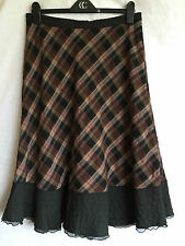LADIES SANDWICH WOOL BLEND 'BLANKET' LONG SKIRT UK SIZE 12 / EUR 40