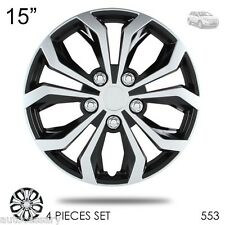 "New 15"" Hubcaps Spyder Performance Black and Silver Wheel Covers For Ford 553"