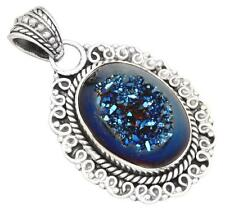 Blue Titanium Druzy Quartz Gemstone Pendant Solid 925 Silver Jewelry IP28856