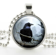 Vintage crow Cabochon Glass Necklace Pendant with Ball Chain Necklace new,n1!