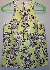 J CREW Collection Racer Tank in Photo Floral Size 00 Kiwi #a6181 $148 NEW