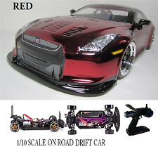 1/10 Scale NISSAN GT-R RTR Custom RC Drift Cars 4WD 2.4Ghz & Charger red