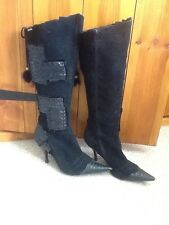 HOYVOY Black Size 6 Faux Suede Leather Knee High Stiletto Zip up Ladies Boots