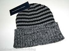 BNWT - FRENCH CONNECTION FCUK Ribbed Striped Beanie Hat   Black Grey