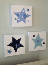 SET OF 3 HANDMADE STARS CANVASES blue nursery boy vintage children picture wall