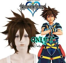 Kingdom Hearts Sora sola Marrone a cubilotto ORIGINALE anti-alice Cosplay Parrucca Anime Parrucca