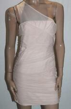 Dotti Brand Nude Mesh Lace Ruched One Shoulder Bodycon Dress Size M BNWT #ST51