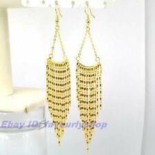 """4.53"""" 10g FRINGE CHANDELIER/DRANGLE EARRINGS 18K YELLOW GOLD PLATED SOLID GEP"""