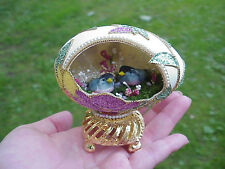 REAL Hand Decorated Carved Goose Egg Collectible Mushroom Moss Bird Flowers