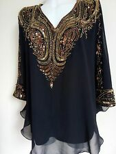 NEW GOLD SEQUIN BLOUSE  SHIRTS BLACK PONCHO WEDDING TOPS TUNIC CAPE CAFTAN  SEXY