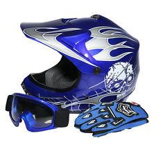 Youth Kids Blue Skull Dirt Bike ATV Motocross ATV Helmet Goggles+Gloves S DOT US