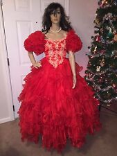 VTG 80'S SIZE SMALL RED LAYER FORMAL PAGEANT BALLGOWN PROM DRESS SOUTHERN BELLE